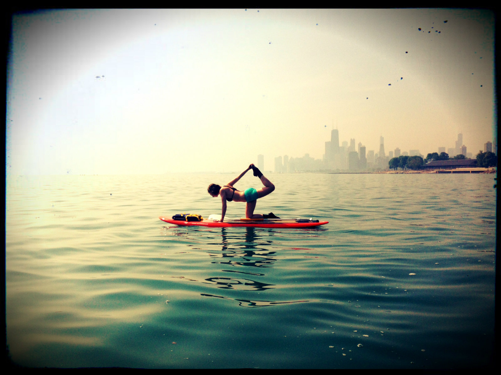 Vyaghrasana (Tiger Pose) on Lake Michigan. Chicago, IL.