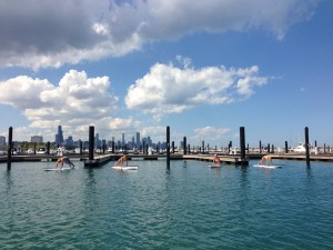 SUP Yoga Class at 31st St Harbor. Chicago, IL
