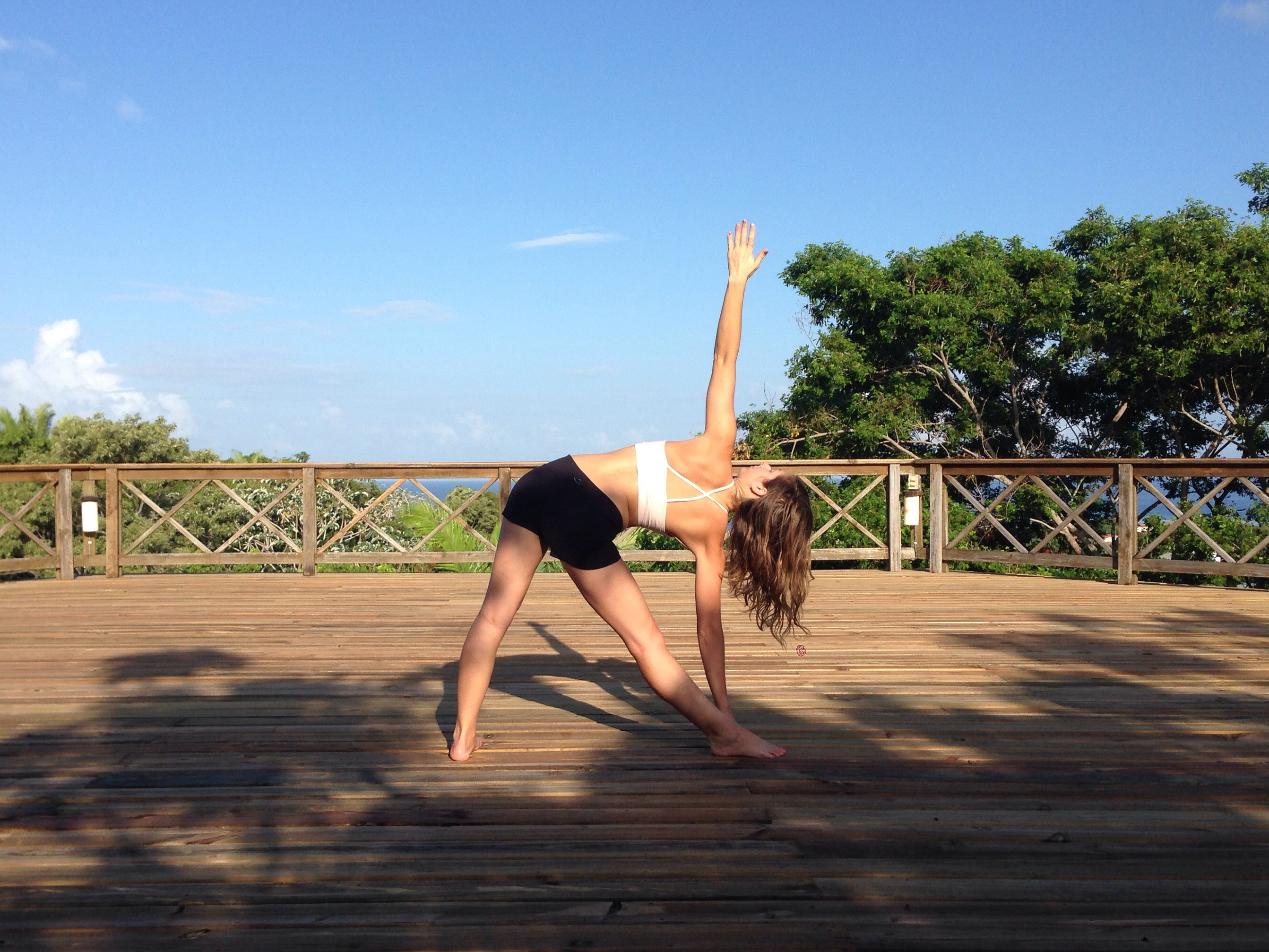 Trikonasana at Roatan Bed and Breakfast.