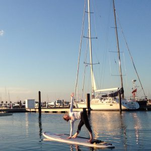 Trikonasana- SUP Yoga 31st St Harbor Chicago