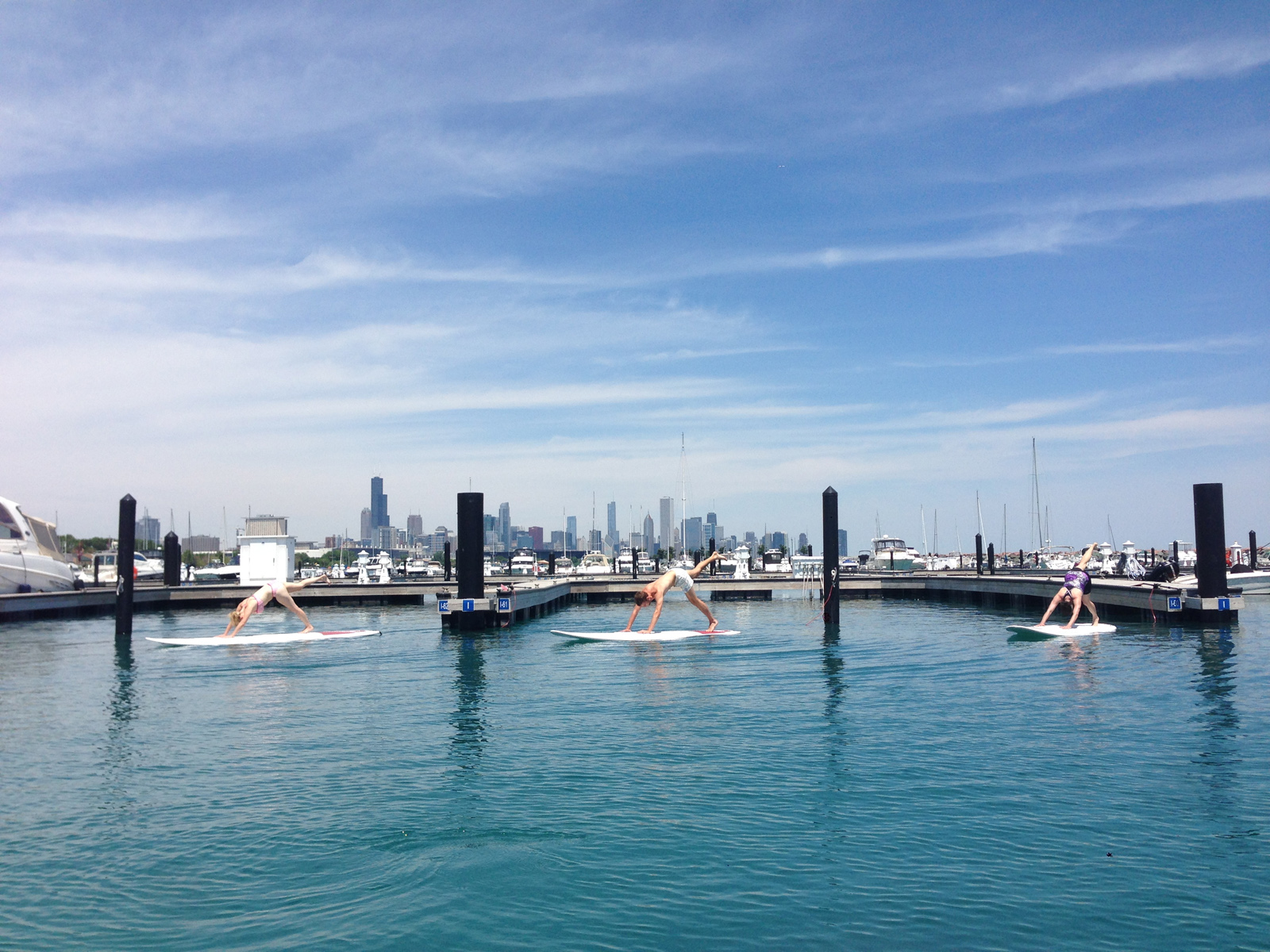 SUP Yoga in Chicago at 31st St Harbor