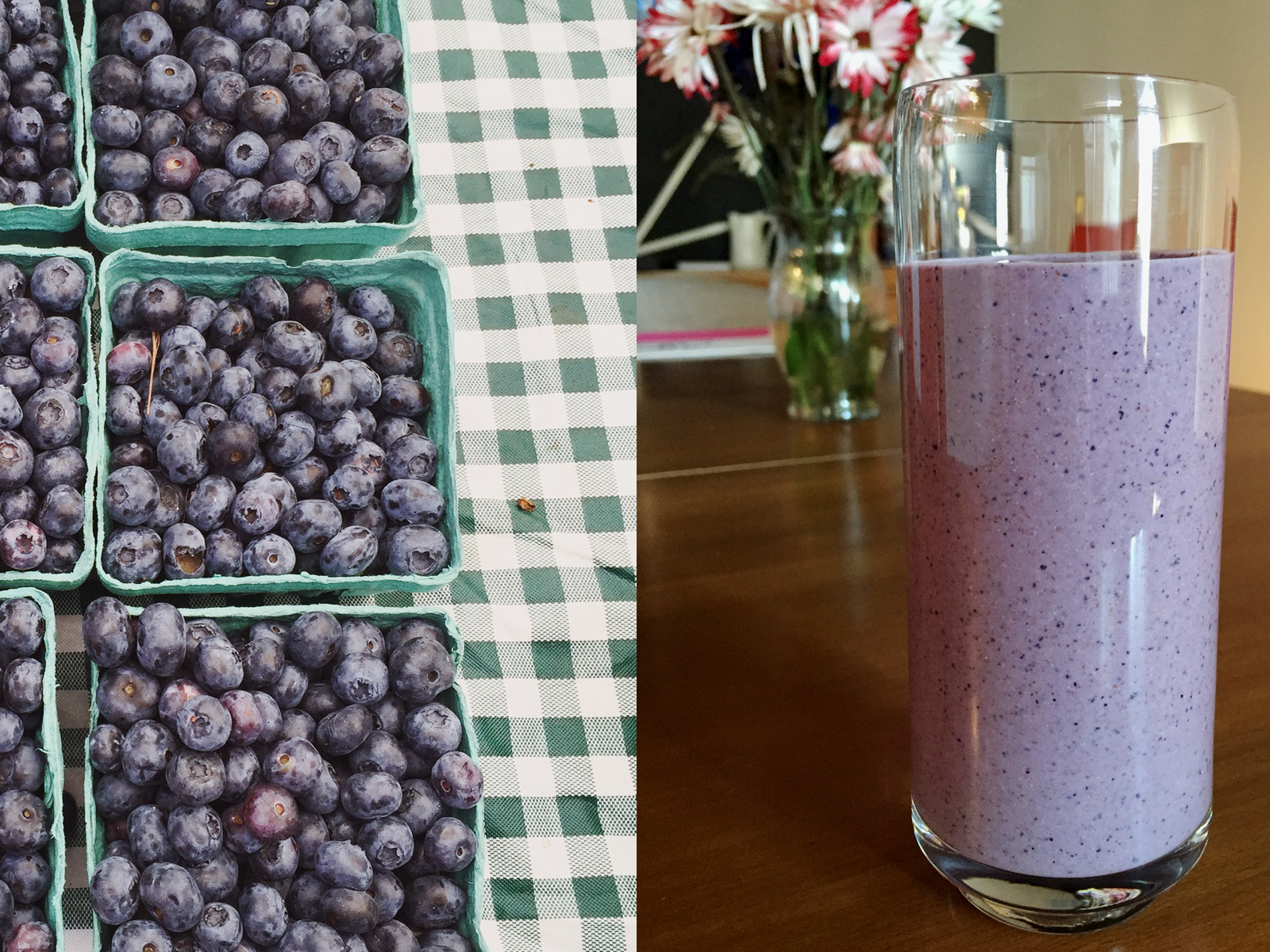farmer's market blueberries and smoothie