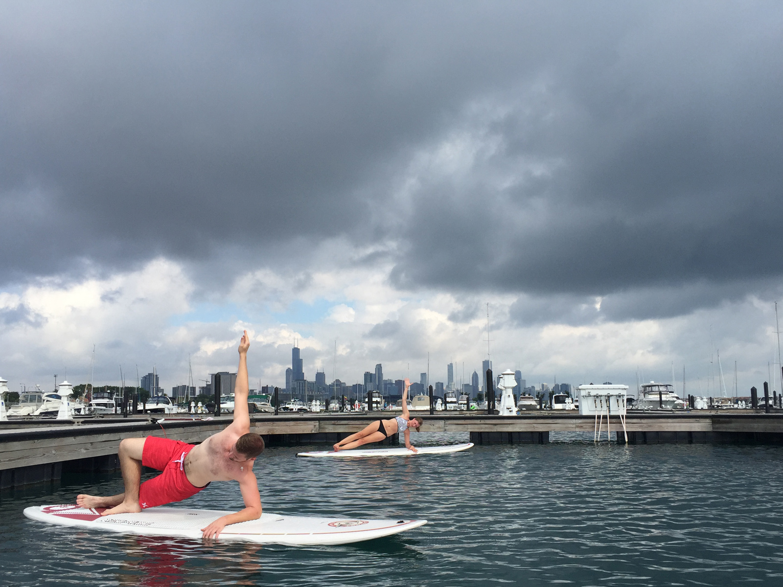 Royal Pigeon Yoga SUP Yoga in Chicago 31st St Harbor