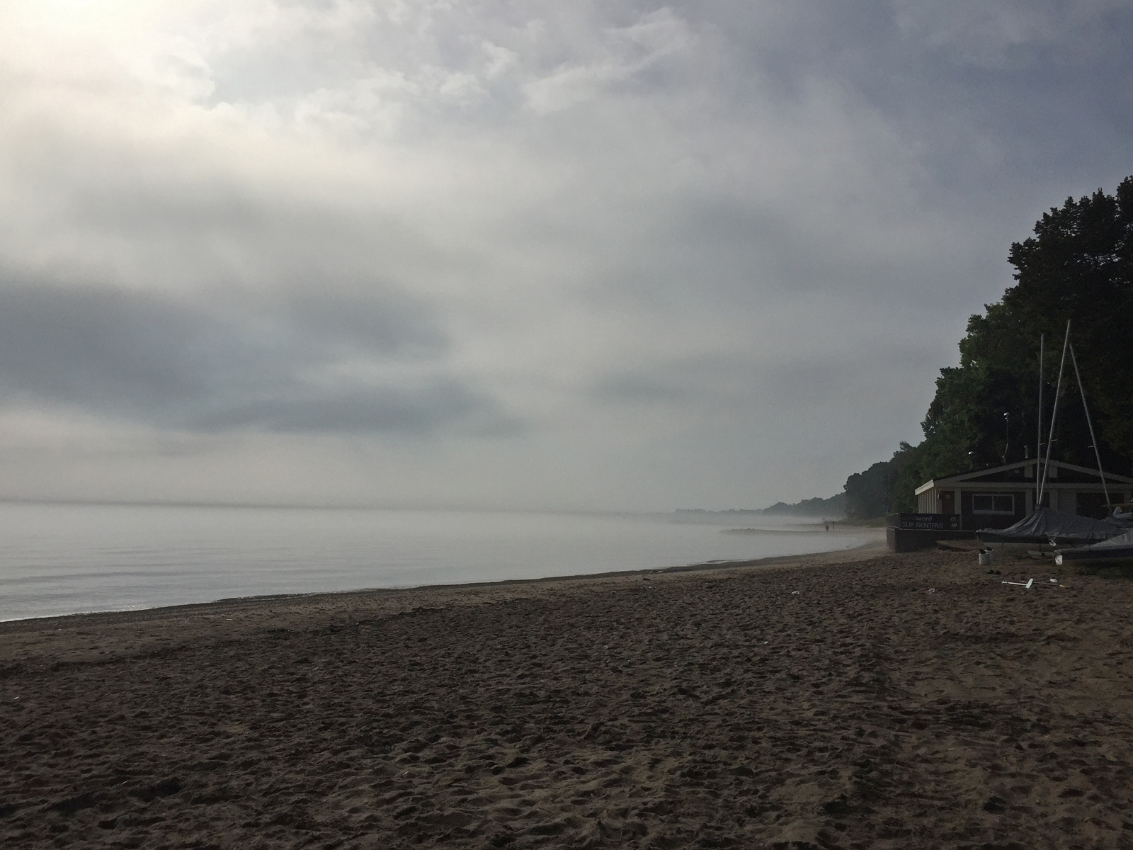 Mist rolling along the shore- Lloyd Beach, Winnetka, IL